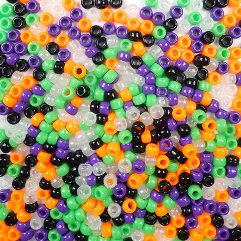 6 x 9mm Plastic Pony Beads in a mix of Halloween Colors