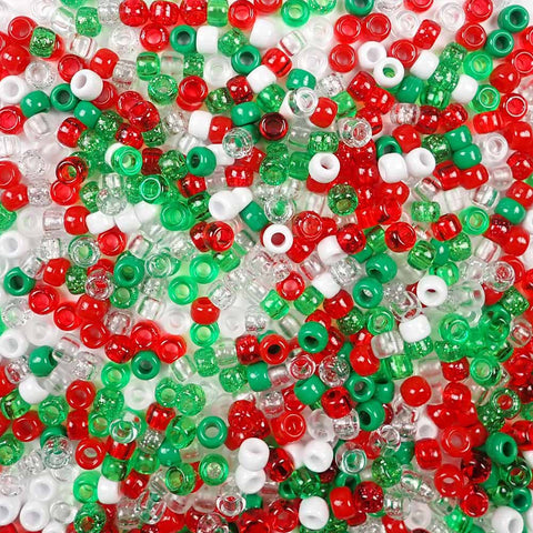 6 x 9mm Plastic Pony Beads in Christmas Colors of Red, Green and White