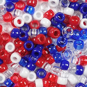 6 x 9mm Plastic Pony Beads in Patriotic Colors of Red, White and Blue