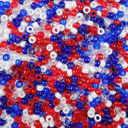 6 x 9mm Plastic Pony Beads in USA Patriotic Colors