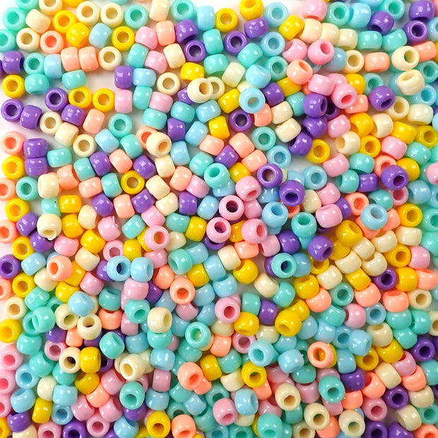 6 x 9mm Plastic Pony Beads in opaque Pastel Colors