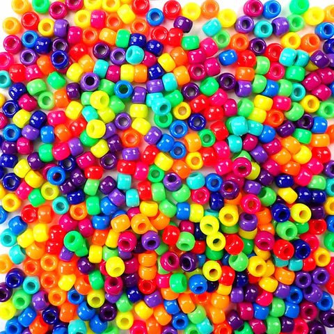 6 x 9mm Plastic Pony Beads in vivid neon colors