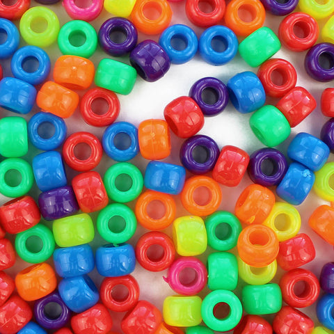 Fun Neon Multi Color Mix Plastic Pony Beads 6 x 9mm, 500 beads