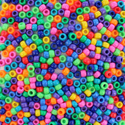 Fun Opaque Multicolor Mix Plastic Pony Beads 6 x 9mm, 500 beads