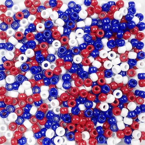 Patriotic Opaque Mix Plastic Pony Beads 6 x 9mm, 500 beads