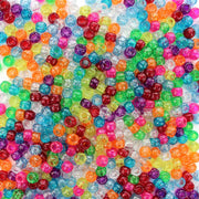 Fun Glitter Multicolor Mix Plastic Pony Beads 6 x 9mm, 500 beads