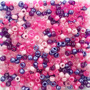 Pink & Purple Multicolor Mix Plastic Pony Beads 6 x 9mm, 500 beads