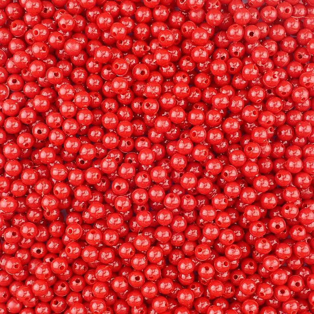 Red Plastic 6mm Round Beads, 500 beads