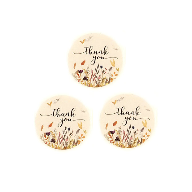 "Thank You Labels Stickers, Earthtones Floral, 1"" Round, 100 labels"