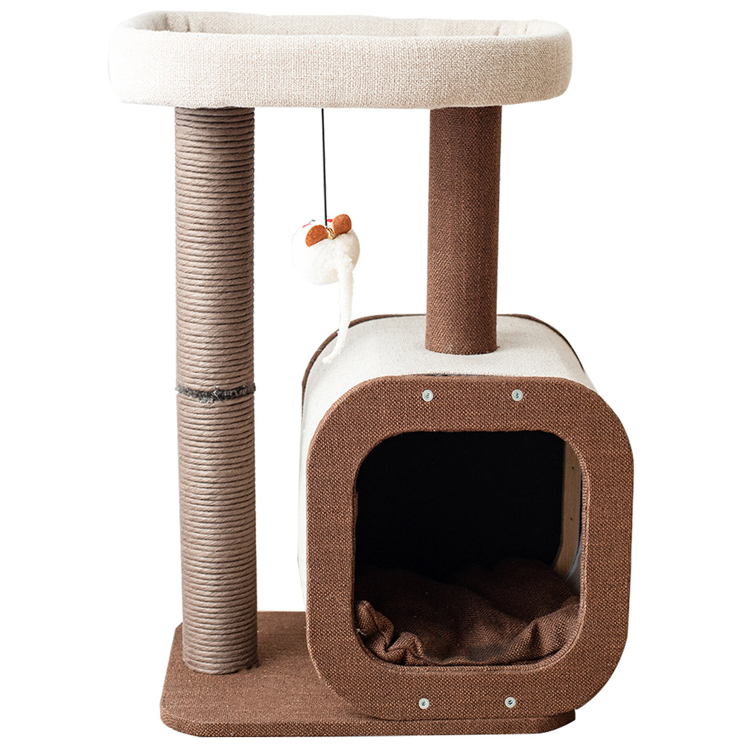 Cat Tree Tower with Kitten Condo Paper Rope Covered Scratch Post Activity Center for Climbing Relaxing and Playing-CT19353