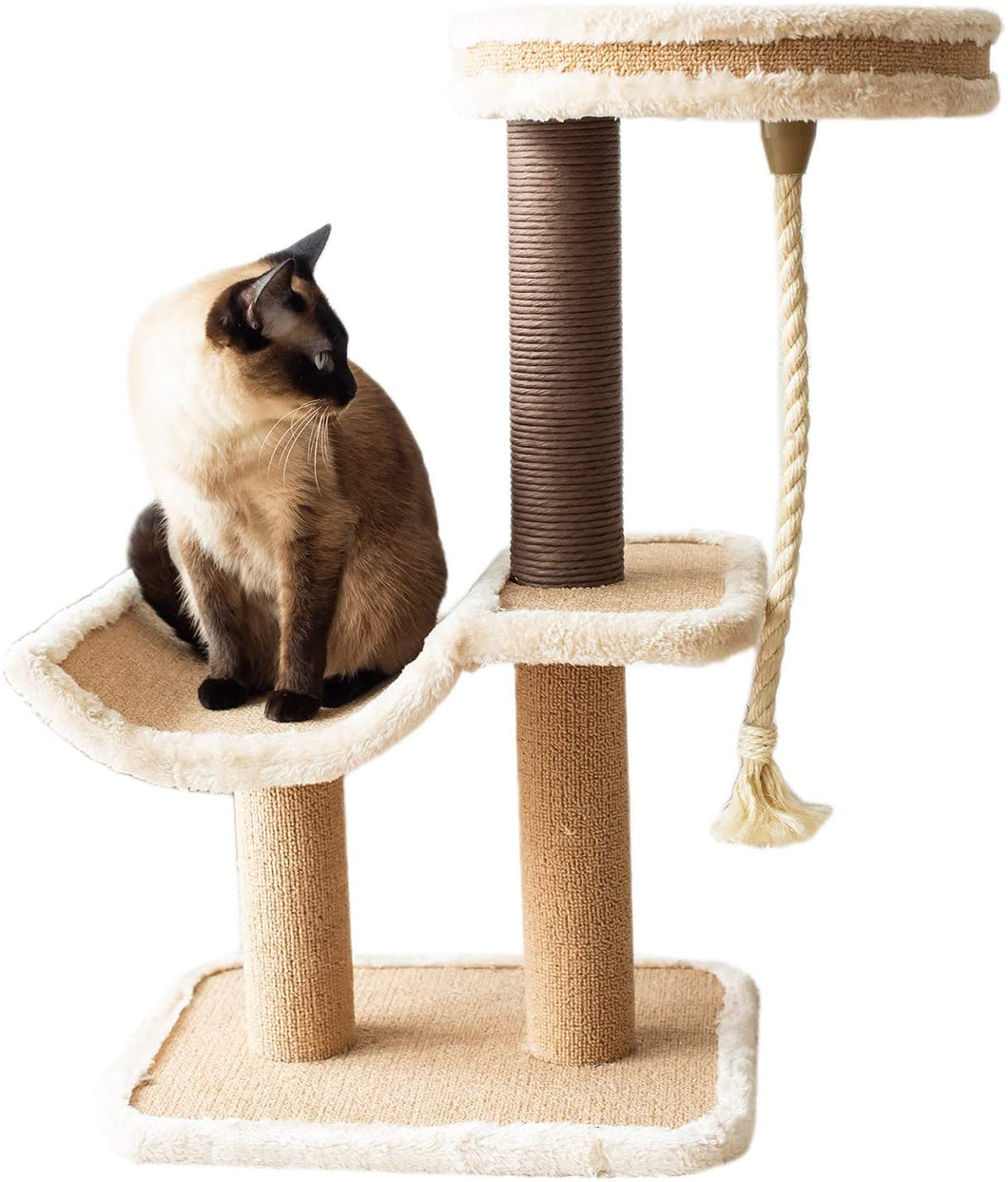 Cat Tree Cradle Bed with Natural Sisal Scratching Posts and Teasing Rope for Kitten