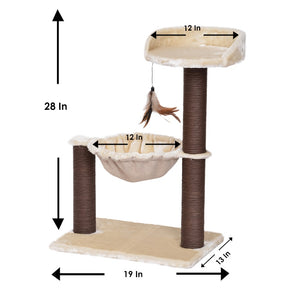 Cat Tree Hammock Bed with Natural Sisal Scratching Posts and Teasing Feather for Kitten-CT18528