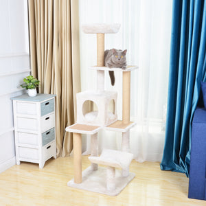 "Catry Cabana, 5 level, 57"" Cat Tree, with Curved Perch, Condo, and Paper Rope Scratch Posts"
