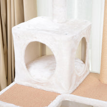 "Load image into Gallery viewer, Catry Cabana, 5 level, 57"" Cat Tree, with Curved Perch, Condo, and Paper Rope Scratch Posts"