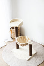 Load image into Gallery viewer, Cat Tree Hammock Bed with Natural Sisal Scratching Posts and Teasing Feather for Kitten-CT18528