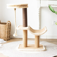 Load image into Gallery viewer, Cat Tree Cradle Bed with Natural Sisal Scratching Posts and Teasing Rope for Kitten