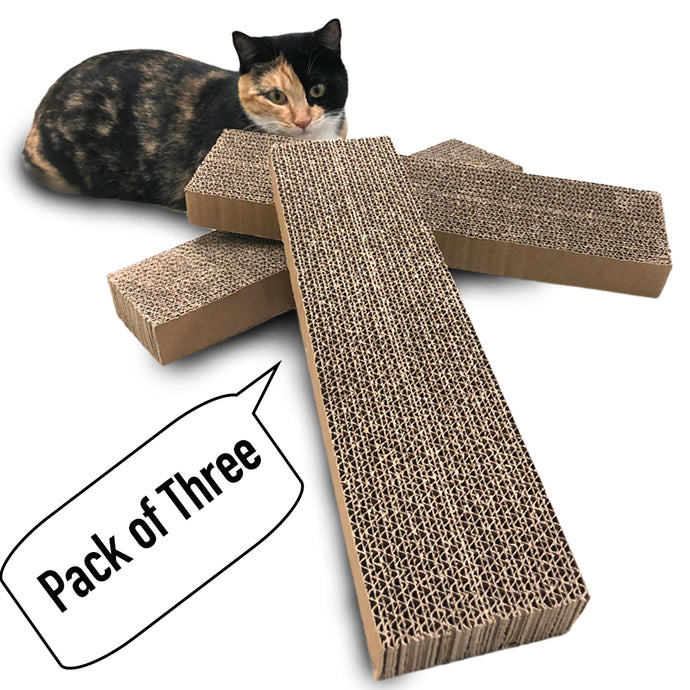 Pack of 3, Cat Scratcher, Replacement Cardboard, Cat Scratching Pad, Paper Cardboard  of 15.4in x 3.9in x 1.5in