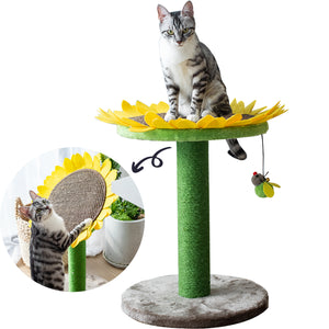 Catry Cat Tree with Scratching Post, Natural Jute Fiber 2-in-1 Scratching Post and Bed