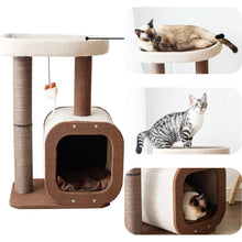 Load image into Gallery viewer, Cat Tree Tower with Kitten Condo Paper Rope Covered Scratch Post Activity Center for Climbing Relaxing and Playing-CT19353