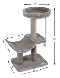 Cat Tree Cradle Bed with Natural Sisal Scratching Posts and Teasing Rope for Kitten-CT18379AG