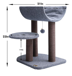 Cat Tree Cat Tower for Cat Activity with Scratching Postsand Toy Ball,Gray