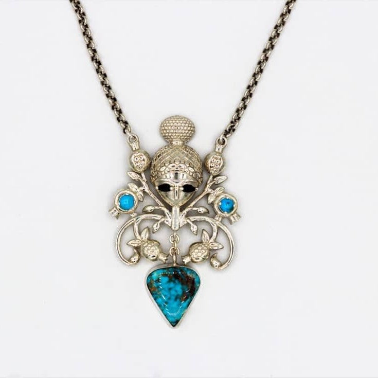 Persian Necklace-Persian Mythology Necklace with Turquoise and gemstone:Persian Jewelry-Afra Art Gallery