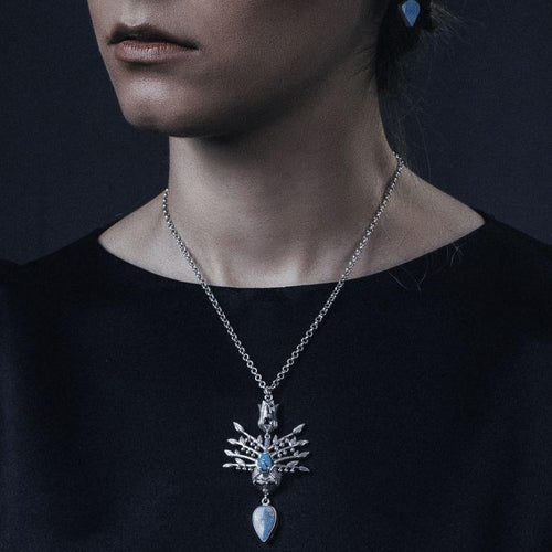 Persian Necklace-Persian Mythology Necklace with Turquoise:Persian Jewelry-Afra Art Gallery