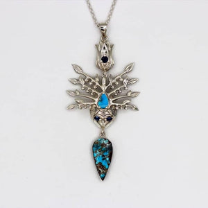 Persian Turquoise Jewelry-Persian Mythology Necklace with Turquoise-Afra Art Gallery
