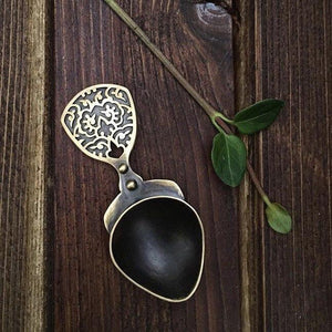Decorative Handmade Brass Spoon With Engraving-AFRA ARt Gallery
