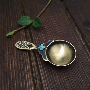 Persian home decor- Decorative Handmade Brass Spoon with Persian Turquoise