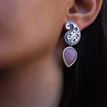 Load image into Gallery viewer, Persian Earrings-Paisley shaped Silver Earrings with Pink Gemstone:Persian Jewelry-Afra Art Gallery