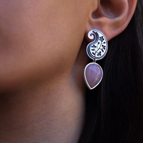 Persian Earrings-Paisley shaped Silver Earrings with Pink Gemstone:Persian Jewelry-Afra Art Gallery