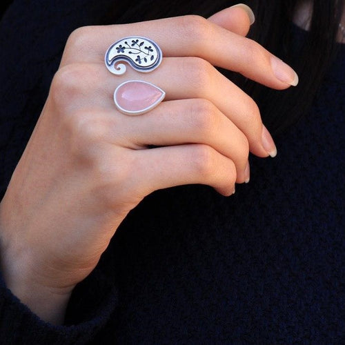 Persian Ring-Paisley shaped Silver Ring with Pink Gemstone-Persian Jewelry-Afra Art Gallery