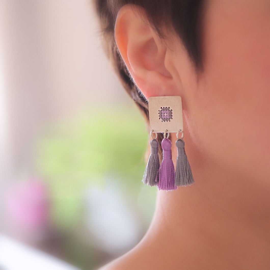 Persian Earrings-Persian Handicraft Silver Earrings with Embroidery and Tassel-: Persian Jewelry-Afra Art Gallery