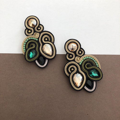 Persian Earrings-Colorful Soutache Earrings with Crystal and Beads-: Persian Jewelry-Afra Art Gallery