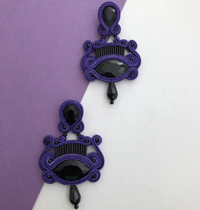 Persian Earrings-Dangle Soutache Earrings with Black Crystal-: Persian Jewelry-Afra Art Gallery