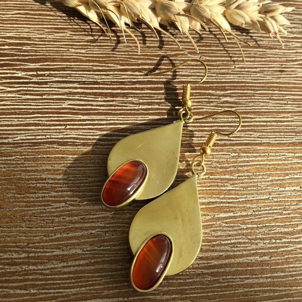Persian Earrings-Persian Teardrop-shaped Earrings with Agate-: Persian Jewelry-Afra Art Gallery