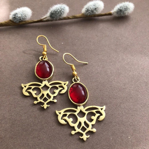 Persian Earrings-Handmade Earrings with Persian Rug Pattern and Red Agate-: Persian Jewelry-Afra Art Gallery