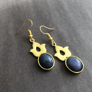 Persian Earrings-Persian Earrings with Lazuli-: Persian Jewelry-Afra Art Gallery