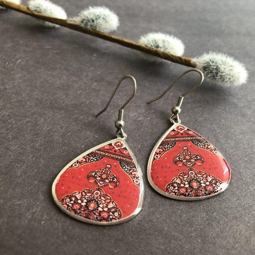 Persian Earrings-Persian Earrings with Colorful Traditional Pattern-: Persian Jewelry-Afra Art Gallery