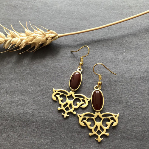 Persian Earrings-Iranian Earrings with Oval Brown Agate-: Persian Jewelry-Afra Art Gallery
