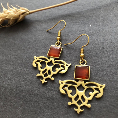 Persian Earrings-Iranian Dangle Earrings with Agate-: Persian Jewelry-Afra Art Gallery