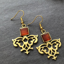 Load image into Gallery viewer, Persian Earrings-Iranian Dangle Earrings with Agate-: Persian Jewelry-Afra Art Gallery