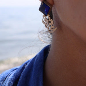 Persian Earrings-Handmade Silver Earrings with Persian Calligraphy:Persian Jewelry-Afra Art Gallery