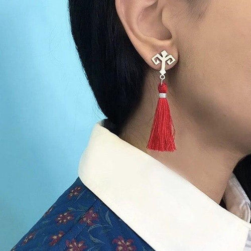 Persian Minimal Jewelry-Handmade Silver Earrings with Gabbeh Motifs and Tassel:Persian Jewelry-Afra Art Gallery
