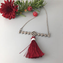 Load image into Gallery viewer, Persian Minimal Jewelry-Handmade Silver Necklace with Gabbeh Motifs and Tassel:Persian Jewelry-Afra Art Gallery