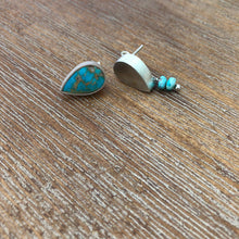 Load image into Gallery viewer, Persian Minimal Jewelry-Persian Handmade Silver Earrings With Nishapur Turquoise:Persian Jewelry-Afra Art Gallery