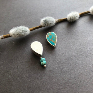 Persian Minimal Jewelry-Persian Handmade Silver Earrings With Nishapur Turquoise:Persian Jewelry-Afra Art Gallery