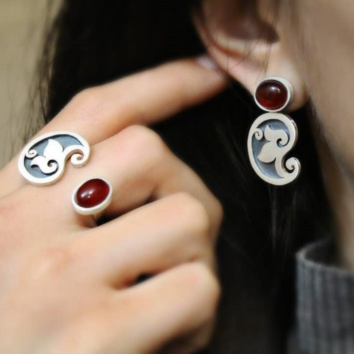 Persian Rings-Persian Paisley Silver Set with Brown Agate: Persian Jewelry-Afra Art Gallery