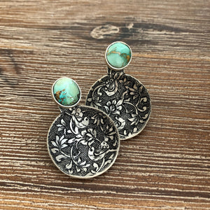 Persian Earrings-Handmade, Flower and Bird Engraved Silver Stud Earrings with Turquoise-: Persian Jewelry-Afra Art Gallery